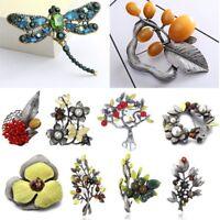 Retro Silver Pearl Flower Leaf Brooch Pin Women Wedding DIY Bouquet Jewelry