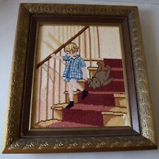 Completed Needlepoint Framed Betsy Pease Gutmann Girl with Teddy Bear