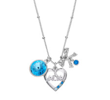 """MOM HEART BOW BLUE NECKLACE PENDANTS WITH SWAROVSKI CRYSTALS 18"""" + 2"""" MOTHER"""