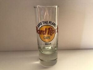 """Hard Rock Cafe 4"""" Cordial Shot Glass MAUI Save The Planet New Black CLOSED HRC"""