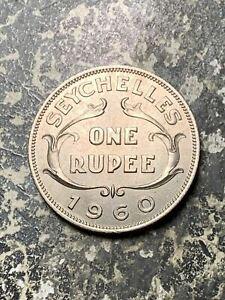 1960 Seychelles 1 Rupee Lot#Z6658 High Grade! Beautiful!
