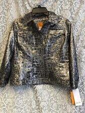 "NWT ""Ruby Rd"" Silver Metallic Animal Print Button Front Jacket Sz 10 Retails $64"