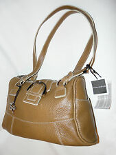 BNWT DESIGNER ITALIAN LEATHER TWIN HANDLED SHOULDER TOTE BAG by NUOVEDIVE CAMEL