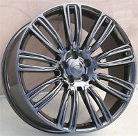 "Set(4) 22"" 22X9.5 5x108 Wheels Range Rover Evoque Freelander2 New Gloss Black"