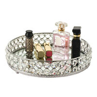 Mirror Crystal Vanity Makeup Tray Ornate Jewelry Trinket Tray Organizer Cosmetic