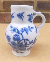 ROYAL WORCESTER Small Blue & White Jug / Creamer - Cottage Leaf Floral
