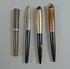 4 Vintage/Antique Fountain Pens w/14k Gold Nibs Eversharp Skyline,Waterman