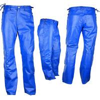 """Men's Short Waist Side Laces Genuine Leather Jean Style Blue Pant Waist Size 40"""""""