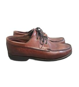 Gokey Company Mocasin Toe Pebbled Oxford Boat Shoes 10.5 E Brown Vintage Leather