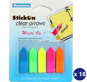 Bantex / Beautone Page StickOn Removable Clear Arrows 12mm X 45mm