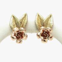 Retro Deco Krementz Rose Green Yellow Gold Tone Non Pierced Earrings