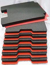 7 piece tool foam inserts for Pelican 1610 - Black foam w/ red ABS Hard plastic