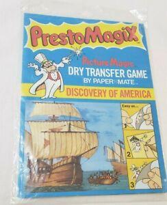 Vintage Presto Magix Rub Down Transfer Game Discovery of America 1978 New