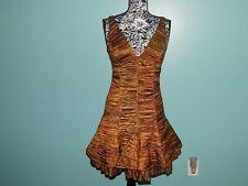 JESSICA McCLINTOCK Bronze Crinoline Taffeta Ruched Cocktail Dress sz 10 FAB USA