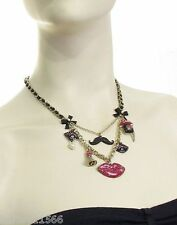 BETSEY JOHNSON NECKLACE Film Noir Glitter Lips and Mustache Multi NWT RARE & HTF