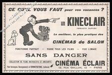 """Publicité Projecteur film KINECLAIR Cinema Eclair """"Sans Danger"""" Vintage Ad 1914"""