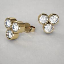18Carat Gold Rubover Set Three Stone Diamond Cluster Studs 0.90 carats H-VS