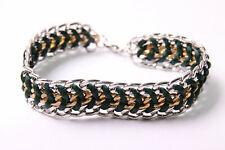 Fashionable Ladies Silver&Gold Colour Chain Bracelet w Bottle Green String(T461)