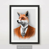 MR FOX QUIRKY ANIMAL PORTRAIT Art Print Poster Bizarre Victorian Vintage Odd