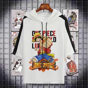 One Piece Luffy Cospaly Anime Kapuzen Kurzarm T-Shirt Shirt Hoodie Polyester