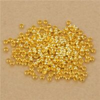 Lot 100 ou 200 Perle a Ecraser 3mm Doré Appret Creation bijoux, Collier