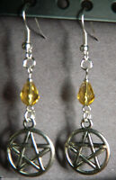 Yellow Crystal Silver Pentagram Pierced EARRINGS Pagan Wicca Occult New Age