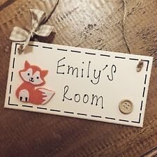 Personalised Fox Name Plaque Door Room Sign Forest Girl Boy Room Woodland Forest