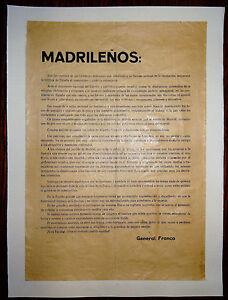 Guerra Civil Española Arengas General FRANCO Madrileños Sois las victimas de ese