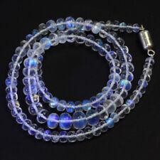 107CT Gem Grade Rainbow Moonstone Smooth Rondelle Beads 18 inch Strand
