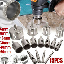 15pcs 6-50mm Diamond Coated Core Hole Saw Drill Bit Set Tools for Glass Marble