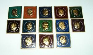 WORLD CHESS CHAMPIONS Rare Vintage USSR 1980s Set 13 pcs Collectable Pin Badge