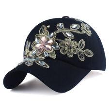 c3079ff352fa2 ... shop womens black baseball cap applique flower rhinestone bling female adjustable  hat 19788 bb876