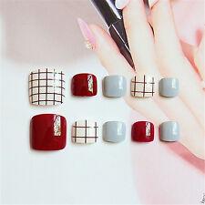 Mixed Color Artificial False Toe Nails Acrylic Nail Art Summer Fashion 24pcs Set