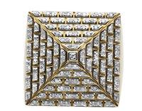 Men's 10K Yellow Gold Genuine Diamond 4-Sided Egyptian Pyramid Ring 1.0ct
