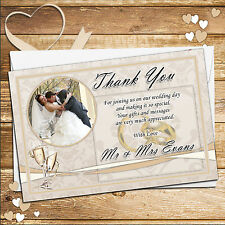 10 Personalised Gold Rings Wedding Day Thank you PHOTO Cards N236