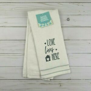 Guest Bath Hand Towel Love Lives Here Ivory Gray Terry Cloth