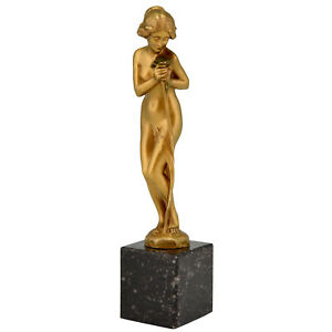Art Nouveau bronze sculpture nude with flower Maurice Bouval France 1900
