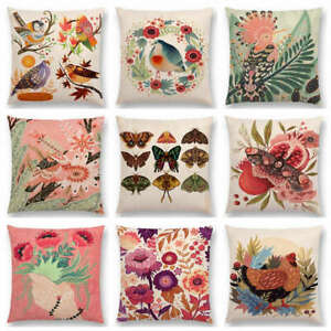 Colorful Bird Flower Leaf Moths Wings Pink Bouquet Spring Chicken Cushion Cover