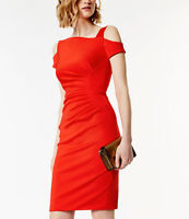 Size 10 Karen Millen Dress Red Off Cold Shoulder - DC132 RARE