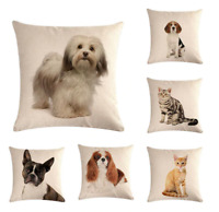 DOG / CAT Cushion Covers! 16 DESIGNS 45cm Puppy Kitten Photo Pillow Throw Gift