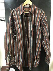Brooklyn Xpress Size XXL Striped Dress Shirt Long Sleeve ORANGE