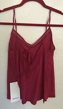 NWT Lululemon Size 12 Final Count Tank Red RUBR Mesh Open Tied Back