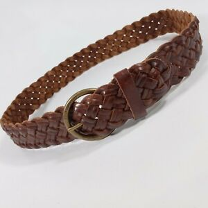 Abercrombie & Fitch Braided Belt Medium Large 32 34 36 Leather Brown