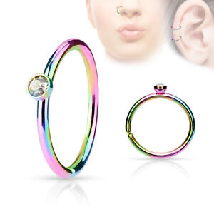 Nose Hoop nose ring daith  rook tragus 20G Micro gem Surgical Steel  bendable