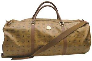 MCM XL Cognac Monogram Visetos Duffle Bag with Strap 862921