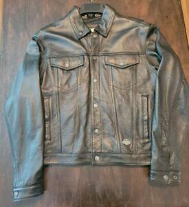 Harley-Davidson Size M Black Leather Snap Down Collar Shirt Jacket Motorcycle