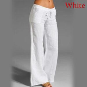 Women Cotton Linen Wide Leg Trousers Elastic High Waist Loose Pants Baggy Summer