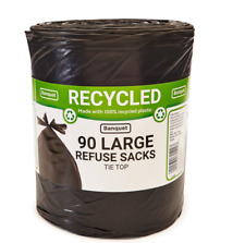 Banquet Large Recycled 90 Tie Top Refuse Sacks Waste Wheelie Bin Liner Bags