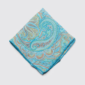 Geoff Nicholson Linen Pocket Square Teal Turquoise Paisley