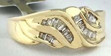 Genuine 0.50 Cts Diamonds Swirl 10k Yellow Gold Ring